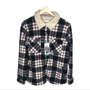 Black Plaid Fleece Sherpa Jacket With Pockets NWT